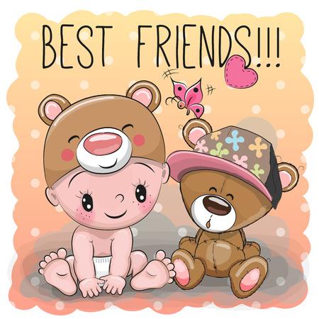 Cute Baby Cartoon dans un chapeau ours et ours en peluche Banque d'images - 72981138