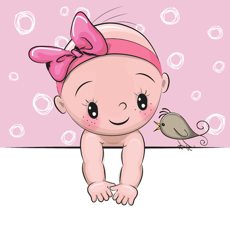 Cute cartoon baby girl and a bird on a pink background Illustration