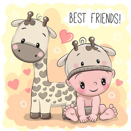 Cute Cartoon Baby in a giraffe hat and giraffe Stock Vector - 74688958