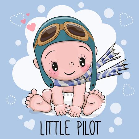 protective eyewear: Cute Cartoon Baby boy in a pilot hat