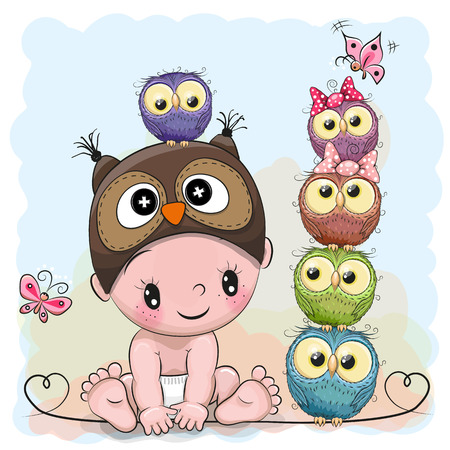 Cute Cartoon Baby Boy in a owl hat and five Owls