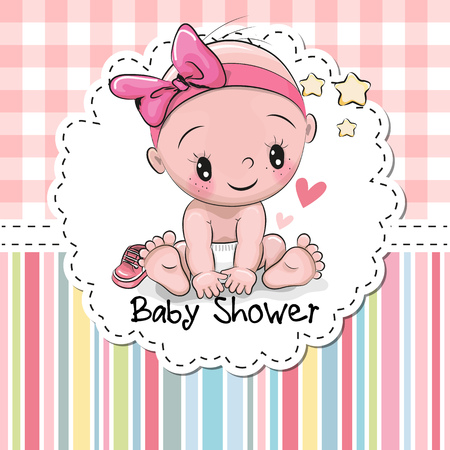 cute baby girl: Baby Shower greeting card with cute baby Girl