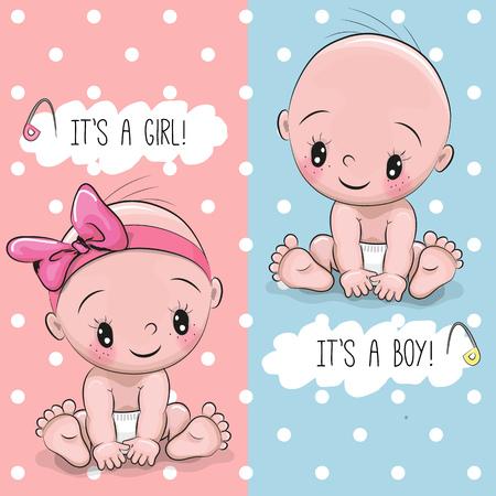 Biglietto di auguri baby shower con bambino ragazzo e ragazza Archivio Fotografico - 74724521