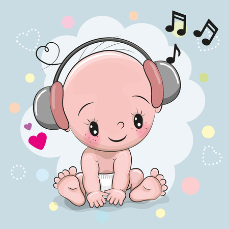 computer art: Cute cartoon Baby with headphones on a blue background