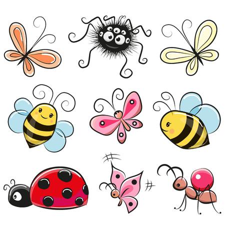 Cute Insectes Cartoon isolés sur un fond blanc Banque d'images - 74694859
