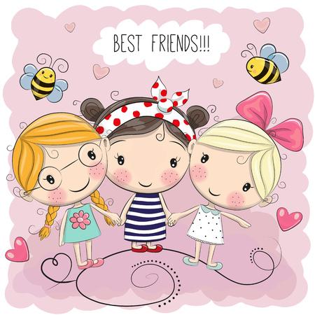 Drie leuke cartoonmeisjes op een roze achtergrond Stock Illustratie