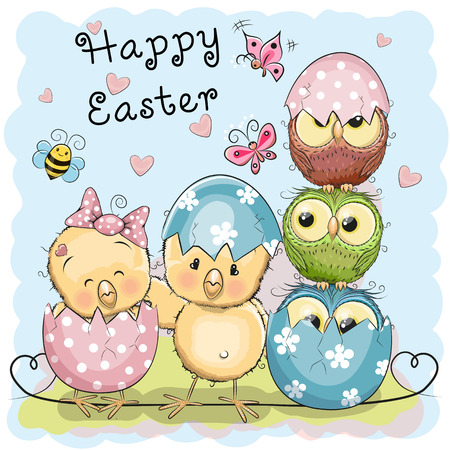 Greeting Easter card Two Chicks and Owls Illustration