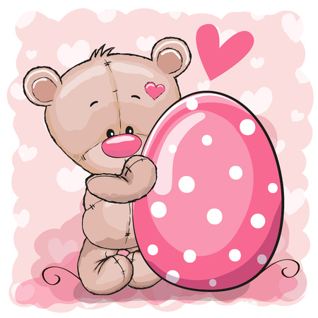 Greeting easter card Cute Teddy Bear with egg