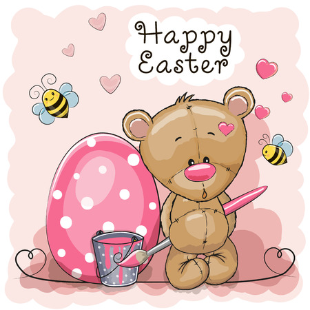 Cute cartoon Teddy Bear paint eggs on a pink background Ilustracja