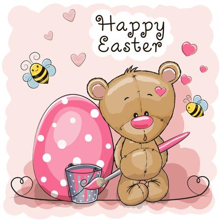 Cute cartoon Teddy Bear paint eggs on a pink background Illustration