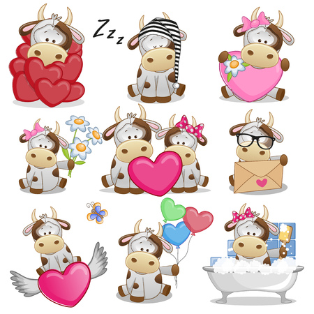 Set of Cute Cartoon Cow on a white background