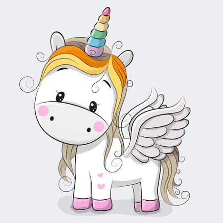 Aranyos Cartoon Unicorn elszigetelt szürke háttéren