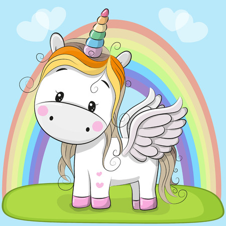 Cute Cartoon Unicorn and rainbow on the meadow