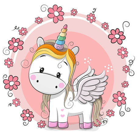 Cute Cartoon Unicorn with flowers on a pink background Illustration