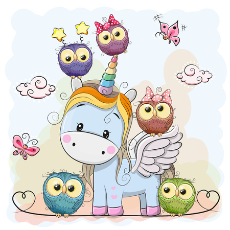 Cute Cartoon Unicorn five owls and butterflies Stock Illustratie