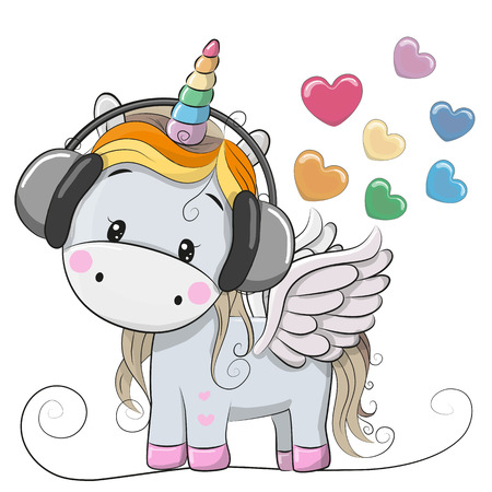 Cute Cartoon Unicorn with headphones and hearts Stock Illustratie