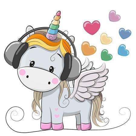Cute Cartoon Unicorn with headphones and hearts Vettoriali