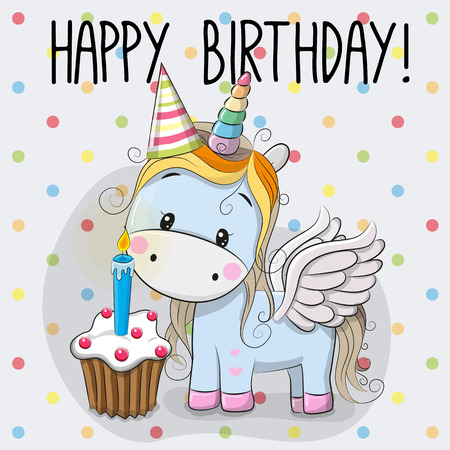 mother and baby: Greeting card cute Cartoon Unicorn with cake