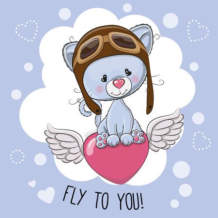 protective eyewear: Cute cartoon kitten in a pilot hat is flying on the heart Illustration