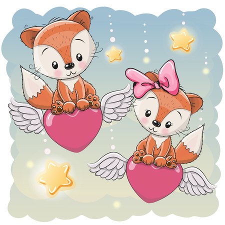 Valentine card Lovers Foxes are flying on the hearts
