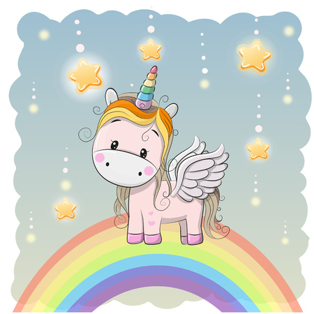 Cute Cartoon Unicorn on the rainbow and stars