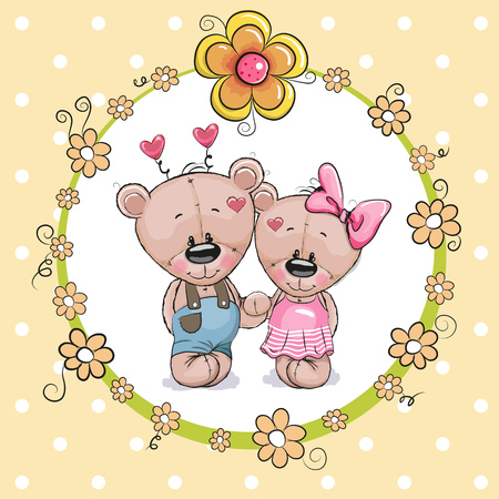 Tarjeta de felicitación con dos osos de peluche de dibujos animados lindo Foto de archivo - 75959485