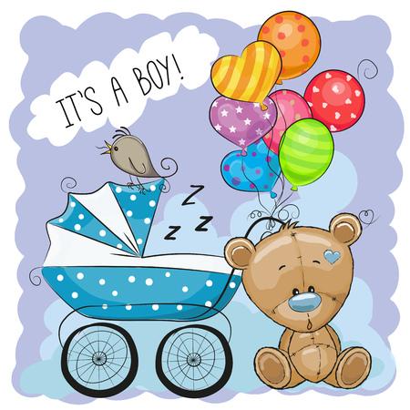 Carte de voeux c'est un garçon avec un landau et un ours en peluche Banque d'images - 76715713
