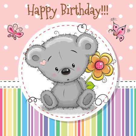贺卡可爱的泰迪熊和一朵花