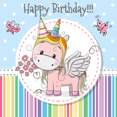 Greeting card Cute Cartoon Unicorn with a flower Illustration