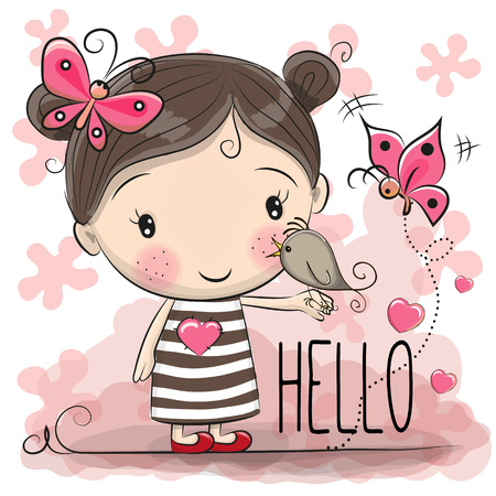Cute Cartoon Girl with a bird and butterfly