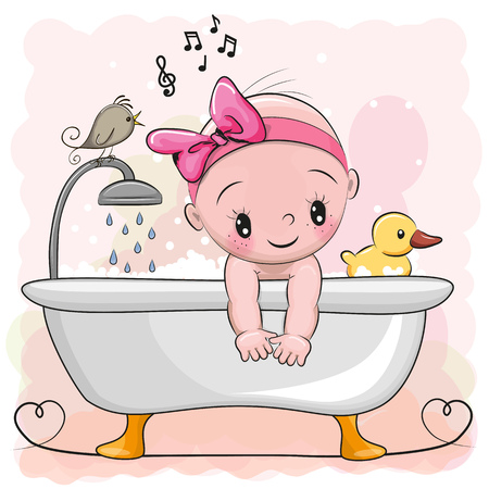Cute cartoon baby Girl in the bathroom Zdjęcie Seryjne - 77395564