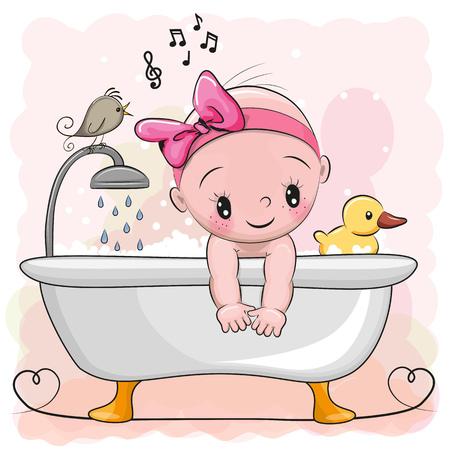 Cute cartoon baby Girl in the bathroom