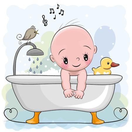 Schattige cartoon baby Jongen in de badkamer