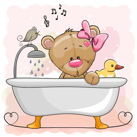 Cute cartoon Teddy Bear in the bathroom Stock Illustratie
