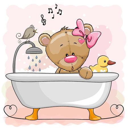 Cute cartoon Teddy Bear in the bathroom Vectores