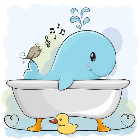 Cute cartoon Whale in the bathroom