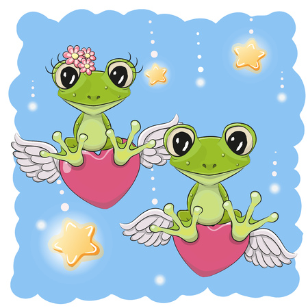 Valentine card Lovers Frogs are flying on the hearts