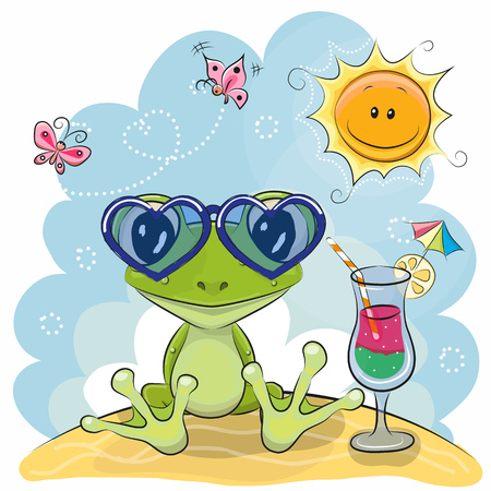 Wenskaart Kikker in zonnebril op het strand