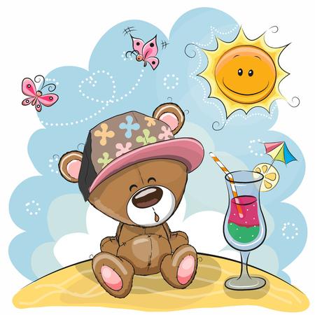 Greeting card Teddy Bear in a cap on the beach Illustration