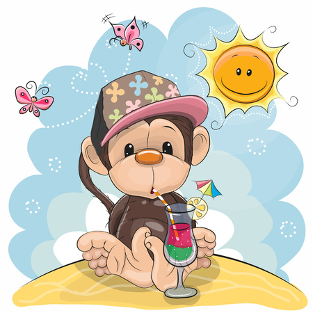Greeting card Cute Monkey in a cap on the beach Stock Vector - 77914134
