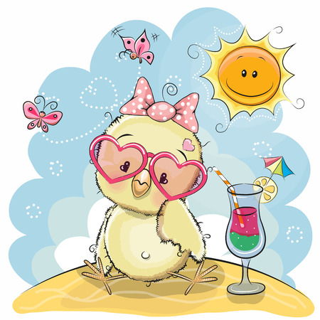 Greeting card Cute Chick in sun glasses on the beach