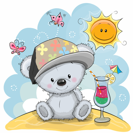 Greeting card Teddy Bear in a cap on the beach Illustration