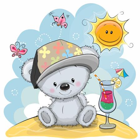 Wenskaart Teddybeer in een pet op het strand