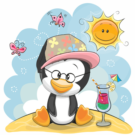 Greeting card Penguin in a cap on the beach