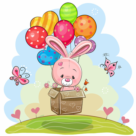 Cute Rabbit in the box is flying on balloons