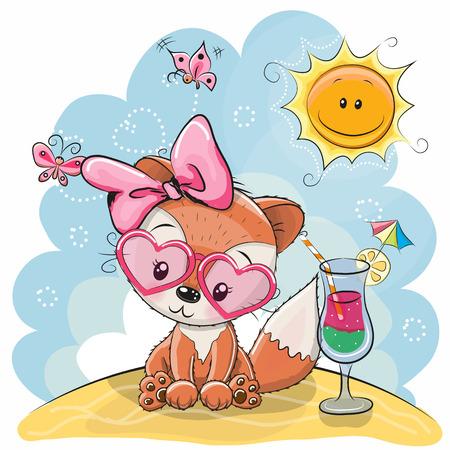 Carte de voeux Cute Fox dans les lunettes de soleil sur la plage Banque d'images - 77914137