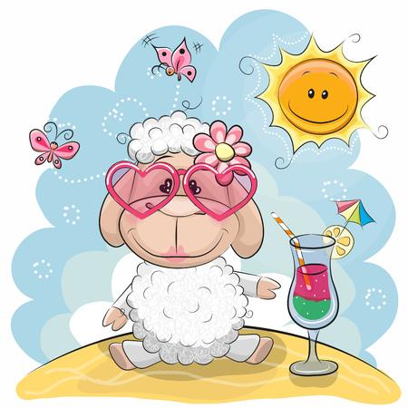 인사말 카드 태양 안경 해변에서 귀여운 양