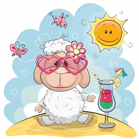 Greeting card Cute Sheep in sun glasses on the beach Çizim