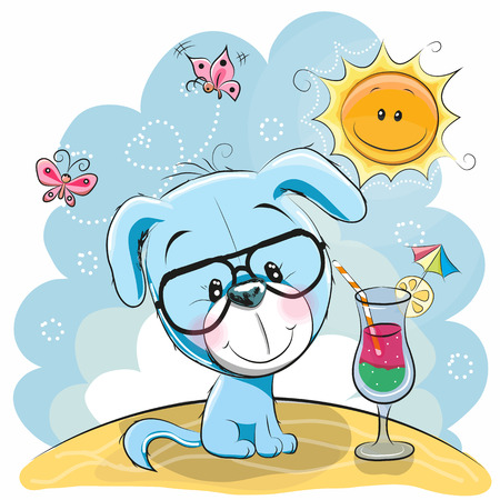Greeting card Cute Puppy in glasses on the beach Çizim