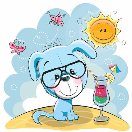 Wenskaart Leuk Puppy in glazen op het strand